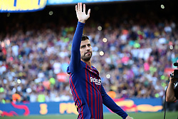 August 15, 2018 - Barcelona, Spain - Gerard Pique during the presentation of the team 2018-19 before the match between FC Barcelona and C.A. Boca Juniors, corresponding to the Joan Gamper trophy, played at the Camp Nou, on 15th August, 2018, in Barcelona, Spain. (Credit Image: © Joan Valls/NurPhoto via ZUMA Press)