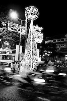 The city centre of Saigon was colourfully lit with thousands of lights to celebrate christmas and new year.