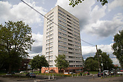 Tower blocks of flats of the Civic Centre Estate in central Birmingham, United Kingdom. The Civic Centre is a collection of four tower blocks in Birmingham city centre, behind The Rep theatre. The scheme was approved in two phases, with the first phase being the two tower blocks on Brindley Drive, which were approved in 1966 and completed in 1968. These blocks have a total of 124 flats and are both 16 storeys tall. The tower blocks on Civic Close were approved in 1968 and completed in 1969 again by Bryant. These two tower blocks are 15 storeys in height, although appear identical to the Brindley Drive pair, and contain a total of 116 flats. From 2006 through to 2007, the tower blocks on the estate underwent an extensive refurbishment.