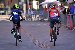 August 3, 2018 - Putte, BELGIUM - Italian Sonny Colbrelli of Bahrain-Merida pictured during the kids ride of the 3rd edition of the 'Natourcriterium Putte' cycling event, Friday 03 August 2018 in Putte. The contest is a part of the traditional 'criteriums', local races in which mainly cyclists who rode the Tour de France compete. BELGA PHOTO LUC CLAESSEN (Credit Image: © Luc Claessen/Belga via ZUMA Press)