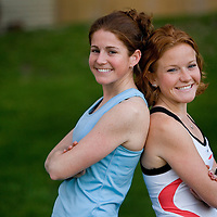 (SPORTS) Howell Twp 4/27/2006  Rebecca (28) and Jessica Clark (23) are sisters running together in the NJ Marathon in Long Branch this Sunday.   They pose for a photos before a short workout.   Michael J. Treola Staff Photographer....MJT