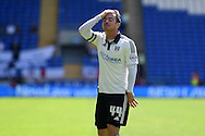 Ross McCormack of Fulham looks on.  Skybet football league championship match, Cardiff city v Fulham at the Cardiff city stadium in Cardiff, South Wales on Saturday 8th August  2015.<br /> pic by Andrew Orchard, Andrew Orchard sports photography.