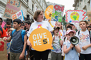 Labour MP Jess Phillips joins school children  during a protest outside Downing Street in London, United Kingdom on 5th July, 2019. Campaign group Save Our Schools say schools are being forced to close early on Fridays from September because of funding cuts.