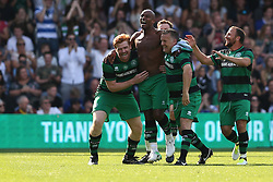 2 September 2017 - Charity Football - Game 4 Grenfell - Trevor Sinclair of Team Shearer takes his top off as he celebrates scoring their 2nd goal with his team mates - Photo: Charlotte Wilson
