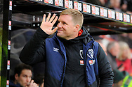 AFC Bournemouth manager Eddie Howe waves at the fans during the Premier League match between Bournemouth and West Ham United at the Vitality Stadium, Bournemouth, England on 19 January 2019.