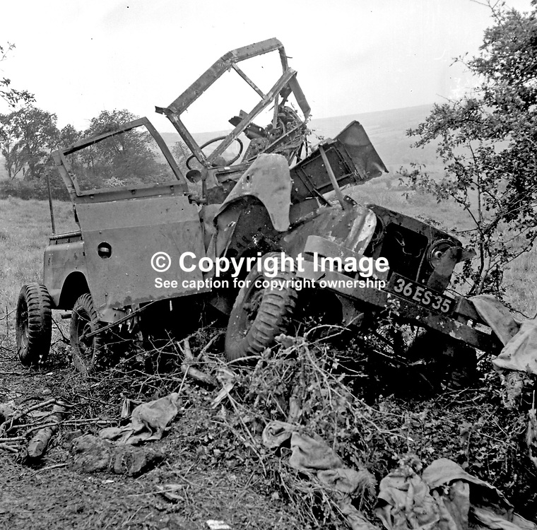 Landrover in which 3 British soldiers died and several were seriously injured as the result of an IRA explosion near Dungiven, Co Londonderry, N Ireland, UK, on 24 June 1972.  197206240380.<br /> <br /> Copyright Image from Victor Patterson, Belfast, UK<br /> <br /> t: +44 28 9066 1296 (from Rep of Ireland 048 9066 1296)<br /> m: +44 7802 353836<br /> e: victorpattersonbelfast@gmail.com<br /> <br /> www.images4media.com<br /> <br /> Please see my full Terms and Conditions of Use at https://www.images4media.com/p/terms-conditions - it is IMPORTANT that you familiarise yourself with them.<br /> <br /> Images used online incur an additional cost. This cost should be agreed in writing in advance. Online images must be visibly watermarked i.e. © Victor Patterson or that of the named photographer within the body of the image. The original metadata must not be deleted from images used online.<br /> <br /> This image is only available for the use of the download recipient i.e. television station, newspaper, magazine, book publisher, etc, and must not be passed on to a third party. It is also downloaded on condition that each and every usage is notified within 7 days to victorpattersonbelfast@gmail.com.
