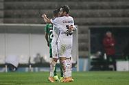 Calhanoglu of Milan celebrates his goal during the Europa League match between Rio Ave FC and AC Milan at Estadio dos Arcos, Vila do Conde, Portugal on 1 October 2020.