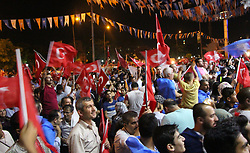 Supporters of Turkey's President and ruling Justice and Development Party, or AKP, leader Recep Tayyip Erdogan celebrate elections victory in Gaziantep, Sunday, June 24, 2018. Unofficial results from Turkey's presidential election show incumbent Recep Tayyip Erdogan with a commanding lead. Photo by Eyyup Burun/DHA/Depo Photos/ABACAPRESS.COM