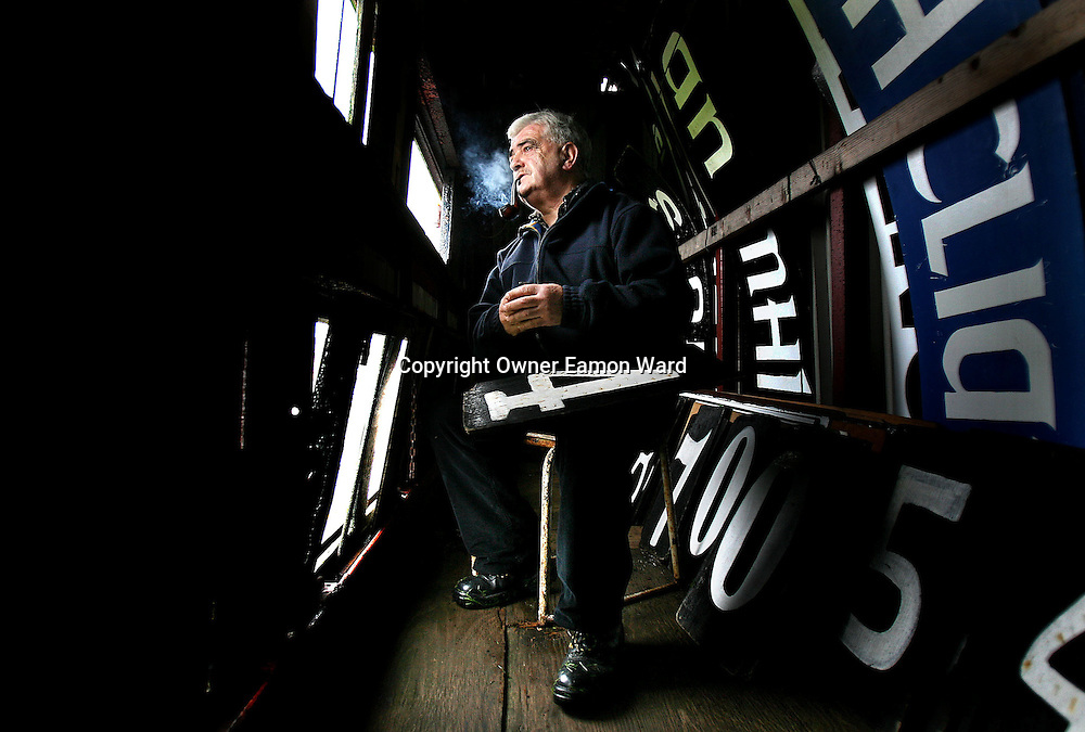 """""""Numbers Up """" Flan McNamara ,Scorekeeper ,Cusack Park ,Ennis..Plans are underway to Develop Cusack Park Commercially and build a new GAA Grounds outside the town....February 07"""