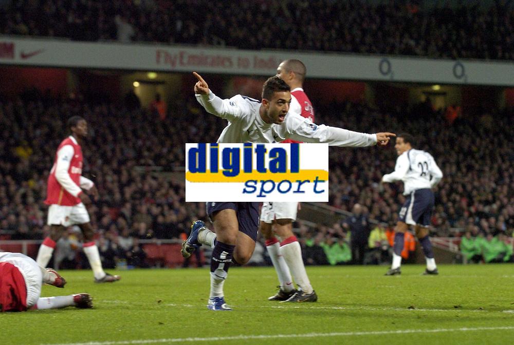 Photo: Olly Greenwood.<br />Arsenal v Tottenham Hotspur. Carling Cup Semi Final 2nd leg 31/01/2007. Spurs Mido celebrates scoring