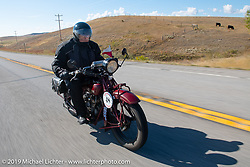 Bartek Mizerski riding his 1928 Indian Scout in the Motorcycle Cannonball coast to coast vintage run. Stage 12 (242 miles) from Great Falls to Kalispell, MT. Thursday September 20, 2018. Photography ©2018 Michael Lichter.