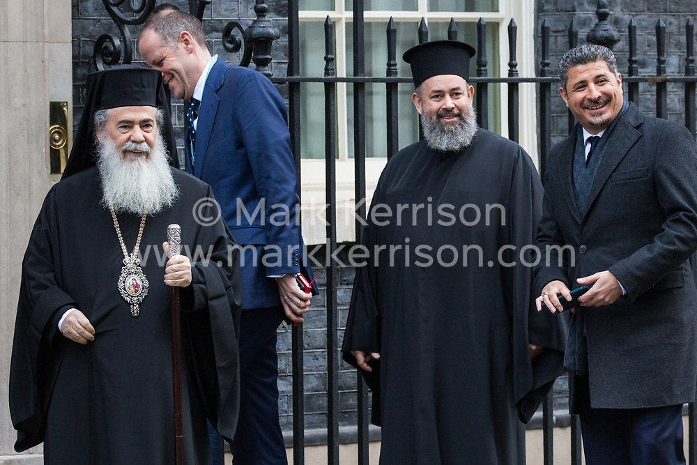 London, UK. 29 January, 2020. Greek Orthodox leader Theophilos III (l), head bishop in the Greek Orthodox Church in Jerusalem, arrives at 10 Downing Street for a meeting.