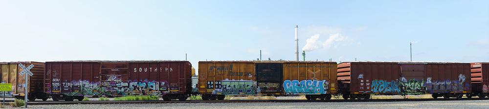 Railway Boxcars with Graffiti. (63898 x 14253 pixels)