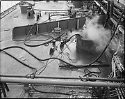 """Ackroyd 18744-04. """"Harper shipping. Cleaning tanks. S. S. Pleioni. March 9, 1974"""" (on Swan Island)"""