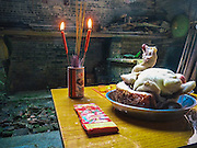 """This is an offering for an ancestor.  A whole poached chicken (baak gai) served with a big slab of pork makes for a tasty meal for the ancestors, wherever they may be.  Incense is lit, and burnable paper money is offered (it has no monetary value) so that the spirits aren't poor in the after life. Sort of like Western Union. In fact, ancestors who are poor and hungry may come back and haunt you as ghosts (or """"gwaai"""") and it seems only proper to provide for them before they take it out on you.  You can also spot three cups of alcohol sitting before the chicken, because let's face it, everyone likes a little bit of the good stuff now and then, right?"""