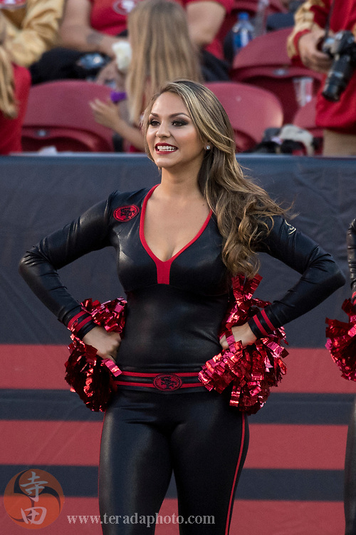 September 21, 2017; Santa Clara, CA, USA; San Francisco 49ers Gold Rush cheerleader Montana before the game against the Los Angeles Rams at Levi's Stadium. The Rams defeated the 49ers 41-39.