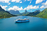 Paul Gauguin Cruise Ship, Opunohu Bay, Moorea, Society Islands, French Polynesia; South Pacific