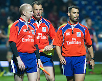 Referee Leighton Hodges (R), Neil Hennessy (C) and Ian Davies (L) during the rugby test match between Romania and USA, on National Stadium Arc de Triomphe in Bucharest, November 8, 2014. Romania lose the match against USA, final score 17-27.