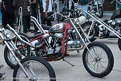 Friday afternoon bike show sponsored by Harley-Davidson in the hotel parking lot before the Race of Gentlemen. Wildwood, NJ, USA. October 9, 2015.  Photography ©2015 Michael Lichter.