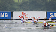 Chungju, South Korea. GBR LM2X.  Lightweight Men's Double Sculls. Bow, Richard CHAMBERS and Peter CHAMBERS. Finish area.  2013 World Rowing Championships, Tangeum Lake, International Regatta Course. 10:52:18  Thursday  29/08/2013 [Mandatory Credit. Peter Spurrier/Intersport Images]
