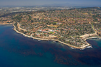 Aerial view of Palos Verdes, looking east/northeast, with a productive kelp forest in the foreground along the coast.
