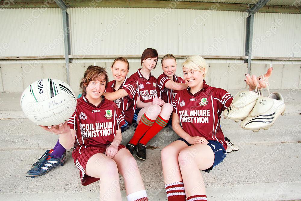 Members of the Scoil Mhuire Ennistymon senior ladies football team from left: Fiona Considine, Roisin Howley, Emily Garvey, Kayleigh Murrihy and Clionadh Considine.<br /> Photograph by Yvonne Vaughan