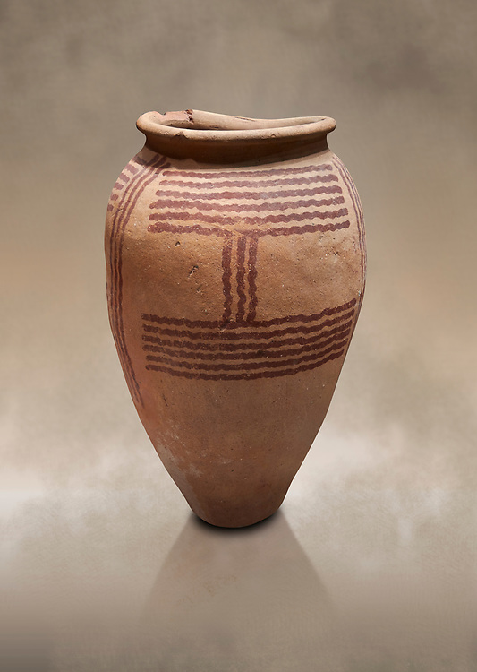 Ancient Egyptian decorated mari ware, class D, baked clay, Predynastic Period, Naqada II Protodynastic Period (3700-300 BC). Egyptian Museum, Turin. <br /> <br /> Mari was a new raw material used to make vases from Naqada II onwards. The material was a marl of rich clay found in some ancient Egyptian desert site which was pulverised and mixed with water. Typically the pottery had a rosy sinish when fired making a good background for painted motifs. .<br /> <br /> If you prefer to buy from our ALAMY PHOTO LIBRARY  Collection visit : https://www.alamy.com/portfolio/paul-williams-funkystock/ancient-egyptian-art-artefacts.html  . Type -   Turin   - into the LOWER SEARCH WITHIN GALLERY box. Refine search by adding background colour, subject etc<br /> <br /> Visit our ANCIENT WORLD PHOTO COLLECTIONS for more photos to download or buy as wall art prints https://funkystock.photoshelter.com/gallery-collection/Ancient-World-Art-Antiquities-Historic-Sites-Pictures-Images-of/C00006u26yqSkDOM