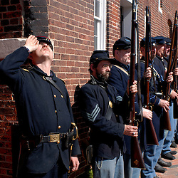 Reenactors stand at attention during a Civil War encampment at Fort McHenry near Baltimore's Inner Harbor...Photo by Susana Raab
