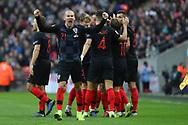Croatia's Domagoj Vida celebrating and shouting after Croatia's Andrek Kramaric scored during the UEFA Nations League match between England and Croatia at Wembley Stadium, London, England on 18 November 2018.