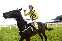 Al Boum Photo and jockey David Mullins celebrate winning the Ryanair Gold Cup Novice Chase during Ryan Air Gold Cup Day of the 2018 Easter Festival at Fairyhouse Racecourse, Ratoath, Co. Meath.