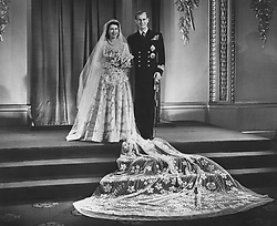 Princess Elizabeth and Lt Philip Mountbatten at Buckingham Palace after their wedding ceremony.