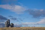 Old farm homestead and small grain elevator