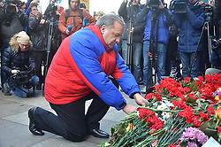 April 4, 2017 - Saint Petersburg, Russia - April 4, 2017. - Russia, Saint Petersburg. - Russian Emergencies Minister Vladimir Puchkov laid flowers in memory of the victims of the metro train blast at 'Tekhnologichesky Institut' metro station. (Credit Image: © Russian Look via ZUMA Wire)
