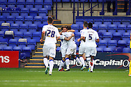 Tranmere Rovers' Danny Holmes (2) celebrates with his teammates after scoring his teams 1st goal. Skybet football league two match, Tranmere Rovers v Exeter city at Prenton Park in Birkenhead, the Wirral on Saturday 20th Sept 2014.<br /> pic by Chris Stading, Andrew Orchard sports photography.