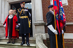 The Mayor of Haringey Cllr Gina Adamou and Lieutenat General Tyrone Urch arrive at the ceremony as representatives of the Armed Forces honour Lieutenant-Colonel Sir Brett Mackay Cloutman VC MC KC with the unveiling of the final London Victoria Cross Commemorative paving stone in Hornsey, London. November 06 2018.