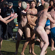 Action during the 'Nude Blacks' versus a Fijian invitation side played at Logan Park, Dunedin as an unofficial curtain raiser match before the New Zealand V Fiji test match in Dunedin, New Zealand...The 'Nude Blacks' won the match 20-10 with 21 year old female player Rachel Scott, a member of the Otago women's rugby team named player of the day. .Over 500 people turned up to watch the match which included a blind referee, Julie Woods and three clothed streakers who were ejected from the playing area..The 'Nude Blacks' traditionally play games before test matches in Dunedin and were using this match as a warm up for three nude games planned during the IRB Rugby World Cup in New Zealand with teams from Argentina, Italy, England and Ireland involved.  Matches will be played before World Cup games in Dunedin. New Zealand. 22nd July 2011. Photo Tim Clayton