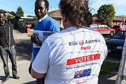 © Licensed to London News Pictures. 7/9/2013. Rise up Australia party volunteer during the Australian Federal Election. Photo credit : Asanka Brendon Ratnayake/LNP