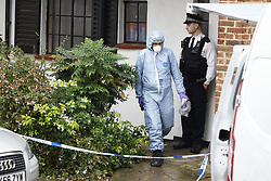 © Licensed to London News Pictures. 02/10/2020. London, UK. The scene at a block of flats in Morden after two men were stabbed. Police were called to reports of a stabbing in the communal area of flats on London Road in Morden, south London.  Two victims were found with stab wounds. A 25-year-old man was pronounced dead at the scene last night. Enquiries to inform his next of kin are ongoing. A post-mortem examination will be held in due course. A second man, aged 33 was taken to hospital. His injuries are not thought to be life-threatening. Photo credit: Peter Macdiarmid/LNP