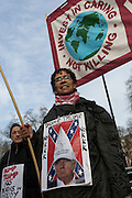 Stop Trump's Muslim ban demonstration on 4th February 2017 in London, United Kingdom. The protest was called on by Stop the War Coalition, Stand Up to Racism, Muslim Association of Britain, Muslim Engagement and Development, the Muslim Council of Britain, CND and Friends of Al-Aqsa. Thousands of demonstrators gathered to demonstrate against Trump's ban on Muslims, saying it must be opposed by all who are against racism and support basic human rights, and for Theresa May not to collude with him.