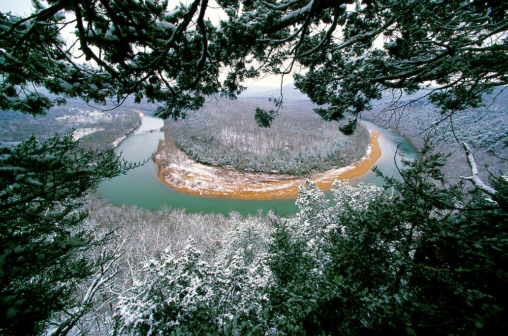 Bearclaw bend and snow, Buffalo National River, Arkansas. This photograph is featured in my new photo book, Connecting with Nature..