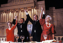Oct 24, 1986; Tulsa, OK, USA; President RONALD REAGAN announces his support of Vice President GEORGE BUSCH'S 1988 presidential bid, with wives NANCY REAGAN (L) and BARBARA BUSH at a dinner at Maison Blanche.  (Credit Image: © Arthur Grace/ZUMAPRESS.com)