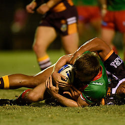 BRISBANE, AUSTRALIA - FEBRUARY 18: Daniel Ogden of Wynnum Manly is tackled by Tautau Moga of the Broncos during the QLD Rugby League Intrust Super Cup Pre-Season match between Wynnum Manly and Brisbane Broncos at Kougari Oval on February 18, 2017 in Brisbane, Australia. (Photo by Patrick Kearney/Wynnum Manly Seagulls)