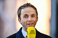 BBC broadcaster Jonathan Sutherland during the SPFL Championship match between Heart of Midlothian FC and Alloa Athletic FC at Tynecastle Park, Edinburgh, Scotland on 9 April 2021.