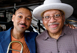 29 April 2012. New Orleans, Louisiana,  USA. <br /> New Orleans Jazz and Heritage Festival. JazzFest.<br /> Legendary Jazz pianist Ellis Marsalis (rt) and his son Delfeayo backstage after a concert.<br /> Ellis Marsalis passed away April 1st 2020 of complications associated with Coronavirus - COVID-19.<br /> Photo ©; Charlie Varley/varleypix.com