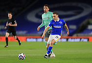 Brighton and Hove Albion midfielder Leandro Trossard (11) shoots at goal during the Premier League match between Brighton and Hove Albion and Everton at the American Express Community Stadium, Brighton and Hove, England UK on 12 April 2021.