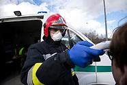 Kontrole sanitarne na granicy z Litwą na dawnym przejściu granicznym w Budzisku z powodu epidemii