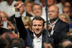 French Minister of Economy Emmanuel Macron during a public meeting of his political movement 'En Marche' at La Maison de la Mutualite in Paris, France on July 12, 2016. Photo by Eliot Blondet/ABACAPRESS.COM
