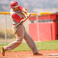 Grants Pirate Tyree Flores (9) connects on a Sandia Prep Sundevils pitch in Grants Tuesday.