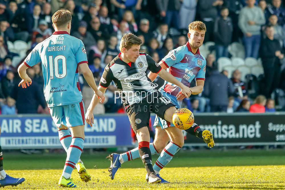 Anders Dreyer of St Mirren volleys the ball away during the Ladbrokes Scottish Premiership match between St Mirren and Dundee at the Paisley 2021 Stadium, St Mirren, Scotland on 30 March 2019.