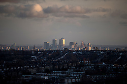 General view of Canary Wharf skyline during day one of the William Hill World Darts Championship at Alexandra Palace, London. PRESS ASSOCIATION Photo. Picture date: Thursday December 14, 2017. See PA story DARTS World. Photo credit should read: Steven Paston/PA Wire. RESTRICTIONS: Use subject to restrictions. Editorial use only. No commercial use. Call +44 (0)1158 447447 for further information.